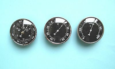 81mm Silver Bezel Insertion Barometer Thermometer and Hygrometer weather set