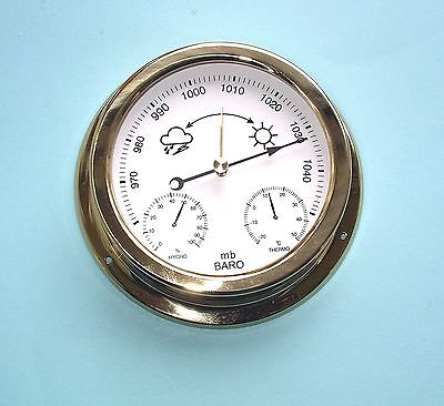 MEGA-QUARTZ SHIPS BAROMETER weather station polished brass case