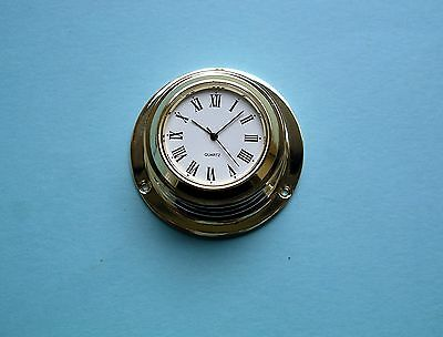 MEGA-QUARTZ micro ships clock polished brassed case