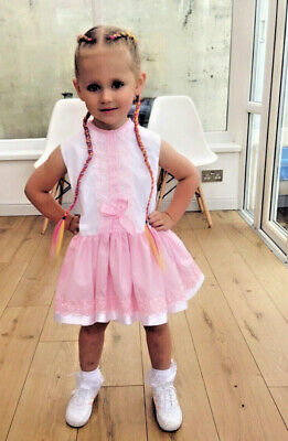 Dream Girls Spanish Romany Summer  White Pink Tulle  Lined Dress 0-6  Years
