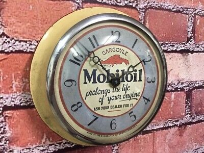 Vtg Ingraham Mobiloil-Gargoyle Dealer Service-Gas Station Garage Wall Clock Sign