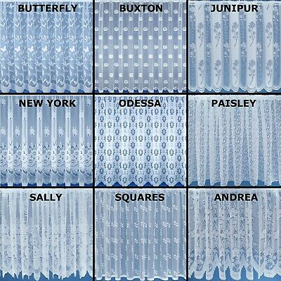 White Lace Window Net Curtain. Sold By The Metre. In 9 Designs & 11 Drops