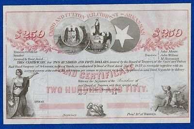 $250 Cairo and Fulton Rail Road Company Land Certificate