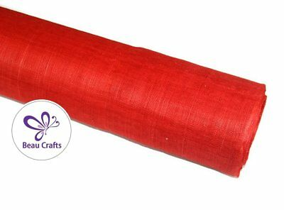 Red Sinamay Fabric for Millinery Hat Making Stiffened Red Sinamay Fabric