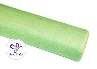 Sinamay Fabric for Millinery Hat Making Stiffened Apple Green Sinamay Fabric