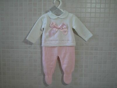 Baby Girls  Knitted Spanish Style 2 piece set  Pink NB  0-3 3-6 6-9 m