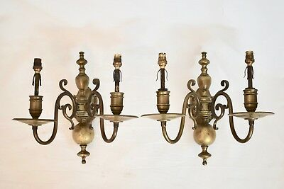 Pair Antique Good Quality Flemish Style Electric Brass Wall Light Sconces