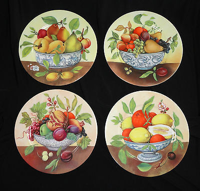Set of 4 Limoges Salad Plates, Variety of Fruit in Blue & White Asian Bowls