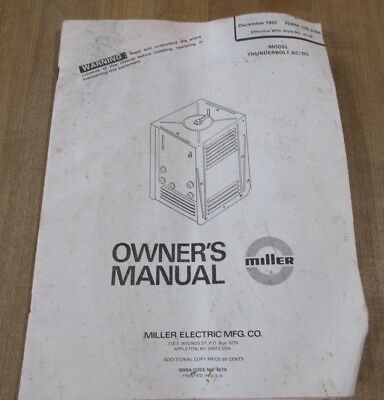 Owners Manual Thunderbolt AC/DC Miller Electric