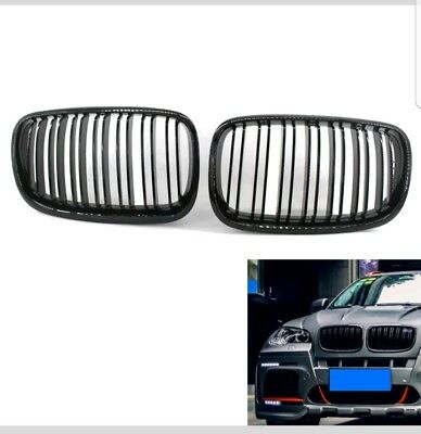 BMW E70 X5 X5M Kidney Grill Grille Grills Gloss Black Twin Bar M Style 2007+