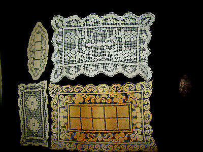 4 Small Filet Lace Doilies