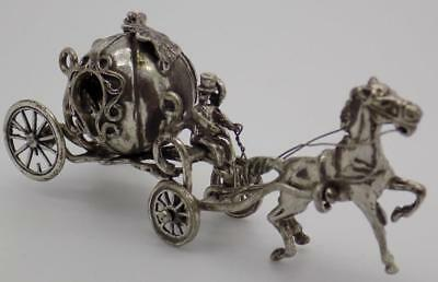 Vintage Solid Silver Italian Made Princess Carriage Miniature, Figurine, Stamped