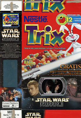 Trix Star Wars AOTC Anakin Padme Collector Card Empty Cereal Box Mexican 816g