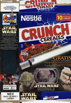 Nestle Crunch Star Wars AOTC Empty Cereal Box Droid Collector Card Mexico 800g