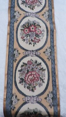 Antique Victorian 19Th C Wide Ombre Floral Silk Dress Trim Yardage