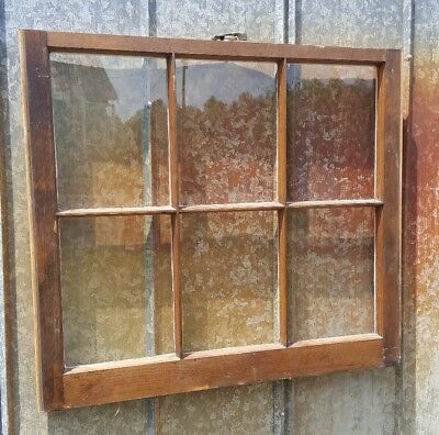 Vintage Sash Antique Wood Window Frame Pinterest Rustic 32X28 Stained