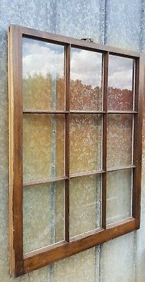 VINTAGE SASH ANTIQUE WOOD WINDOW FRAME PINTEREST RUSTIC 40x32 STAINED 9 PANE
