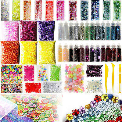 55 Pack Slime Beads Charms Include Fishbowl beads Foam Balls Glitter Jars F M3R7