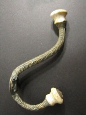 Set of 2 matching Victorian Brass and Ceramic Hat and Coat hooks