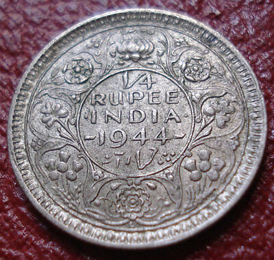 1944-L British India 1/4 Rupee In Ef Condition (.500 Silver)