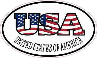 5X3 Oval USA Flag Letters United States of America Flag Sticker Vinyl Car Decal