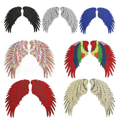 1Pair Wings Feather Applique Sequins Embroidered Iron on Patches Clothes Decor