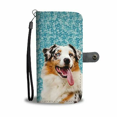 Australian Shepherd Dog Print Wallet Case-Free Shipping