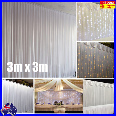 Wedding Party Stage Backdrop Swag Drape Sheer Satin Curtain Photo Background