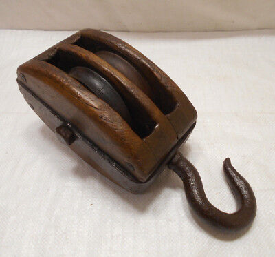 Vintage Wooden Ship's Pulley Two Wooden Wheels Japanese Medium Restored #197