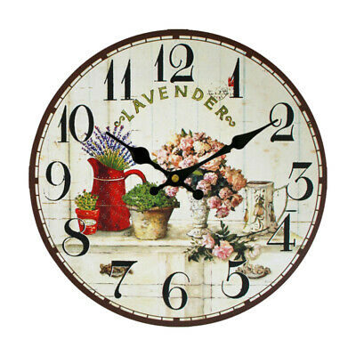 Vintage Rustic Wooden Wall Clock Antique Shabby Chic Retro Home Cafe Decor