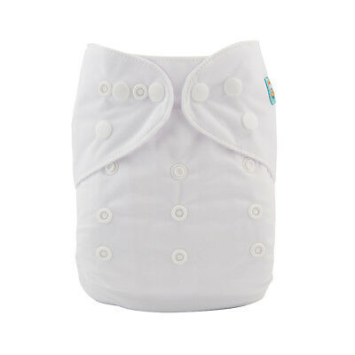 Alva Baby White Onesize Pocket Cloth Diaper Nappy Washable Reusable + 1Insert