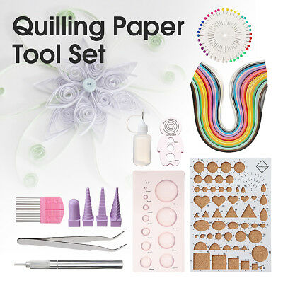 Paper Quilling DIY Craft Tool Full Kit Handmake Work Board Mould Set 50 Colors