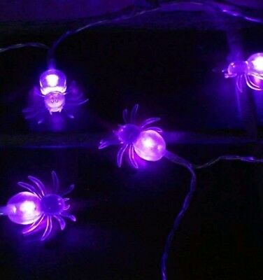 7.2ft/2.2m Halloween Lights Battery Powered Purple Spider 20 LED Fairy String