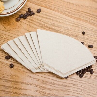 100 X Coffee Filter Paper Dripper Pot Unbleached Maker Cone Cafe Supply 2-4 Cup