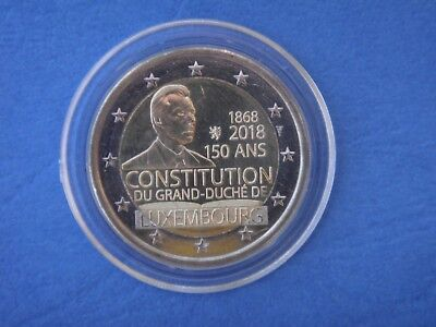 "Pièce 2 euros LUXEMBOURG 2018 "" CONSTITUTION ""  sous capsule"