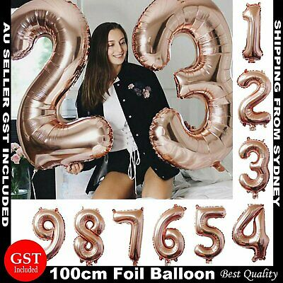 100cm Rose Gold Foil Balloon Number Helium Jumbo Balloons Wedding Party Birthday