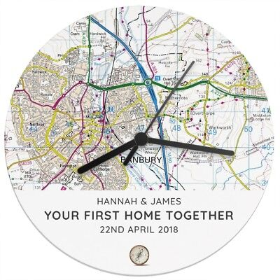 New Personalised Present Day Map Wooden Clock House Warming Wedding Anniversary