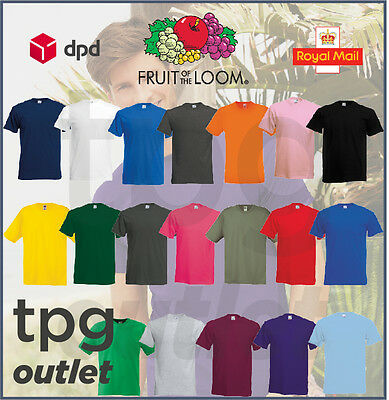1 or 5 Fruit Of The Loom Plain T Shirt 100% Cotton Tee Shirt TShirt T-Shirt Lot