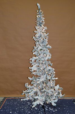 Sterling Tree Co 7 5 Ft Narrow Flocked Austin Pine Pre Lit Christmas Tree