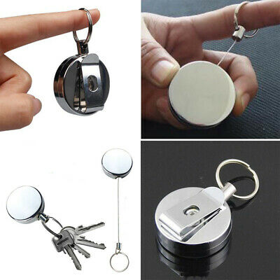 Stainless Pull Ring Retractable Key Chain Recoil Keyring Steel Anti Lost Gripper