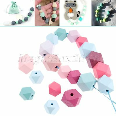 Natural Geometric Wood Beads Mixed Colour DIY Baby Teething Octagon Beads 2 Size
