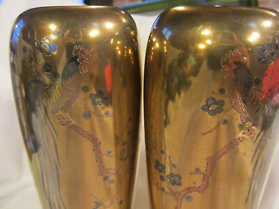 Ancien Vase Bronze Chine Japon Decor De Coq A Longues Queues Sur Branche