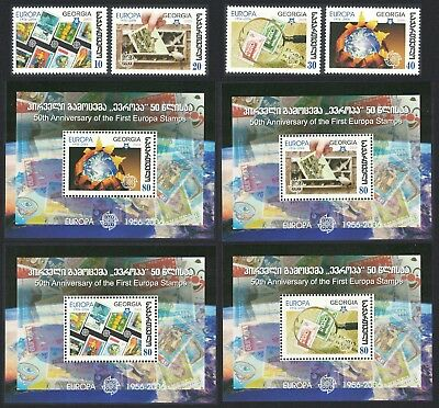 Georgia 50th Anniversary of Europa CEPT stamps 4v+4 MSs SG#484-MS488