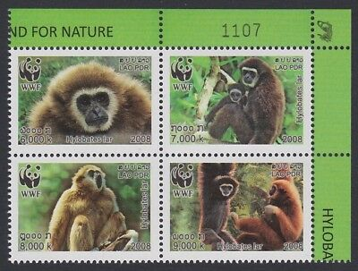 Laos WWF White-handed Gibbon 4v block 2*2 with Control Number SG#2021-2024