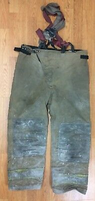 Globe Firefighter Turnout Bunker Pants w/ Suspenders 38 Waist x 30 Length '02