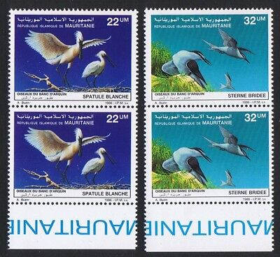 Mauritania Birds Spoonbill Terns 2v issue 1986 in pairs with Bottom Margin