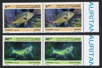 Mauritania Fish 2v issue 1986 in pairs with Right Margin SG#874+877 SC#614-615