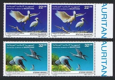 Mauritania Birds Spoonbill Terns 2v issue 1986 in pairs with Right Margin