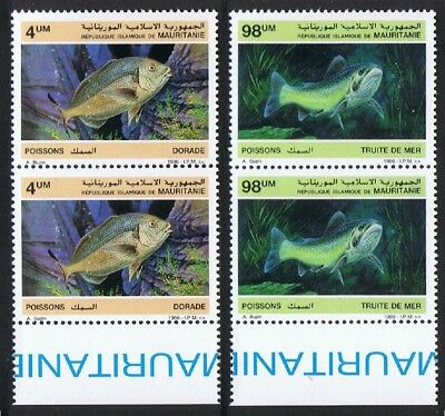 Mauritania Fish 2v issue 1986 in pairs with Bottom Margin SG#874+877 SC#614-615