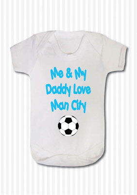 Me And My Daddy Love Football Team Baby Body Grow Suit Vest Girl Boy Gift